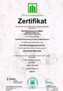 OFS Oberflächentechnik Jens Müller DIN ISO Zertifizierung