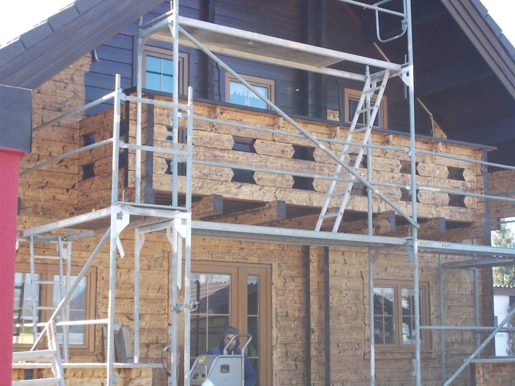 Trockeneisstrahlen Holzhaus 2